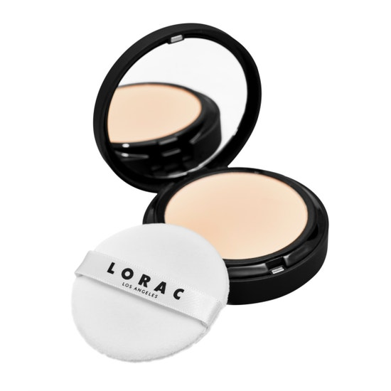 LORAC | PRO Blurring Translucent Pressed Powder - Product angled with lid open and applicator