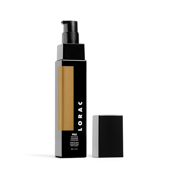 LORAC | PRO Soft Focus Longwear Foundation- 14, 14 (Medium Dark with golden undertones) - Product slightly angeled without cap
