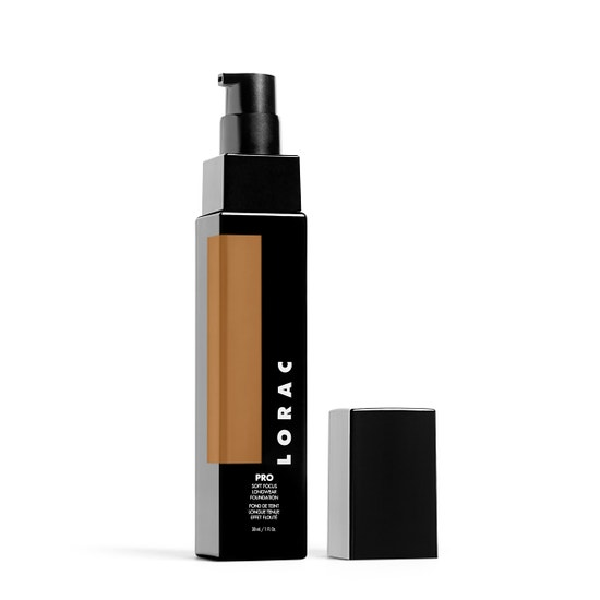 LORAC | PRO Soft Focus Longwear Foundation- 17, 17 (Medium Dark with olive undertones) - Product slightly angeled without cap