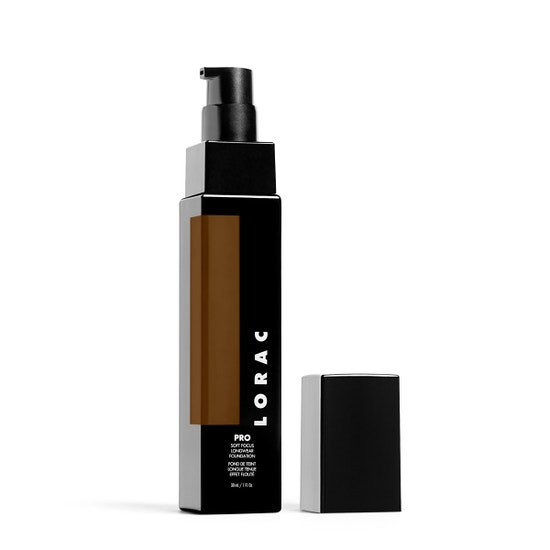 LORAC | PRO Soft Focus Longwear Foundation- 25, 25 (Deep with warm neutral undertones) - Product slightly angeled without cap on white background