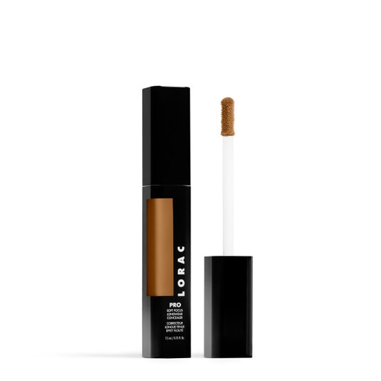 LORAC | PRO Soft Focus Longwear Concealer- 15.5, 15.5 (Medium Dark with golden undertones) - Product slightly angeled with applicator showing
