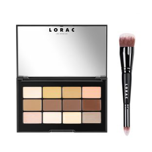 LORAC | PRO Conceal & Contour Palette - Cream Contour Palette with Brush - Product front facing with lid open and applicator