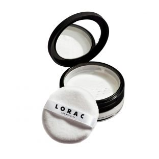 LORAC | PRO Blurring Translucent Loose Powder - Product angled with lid open and applicator on white background