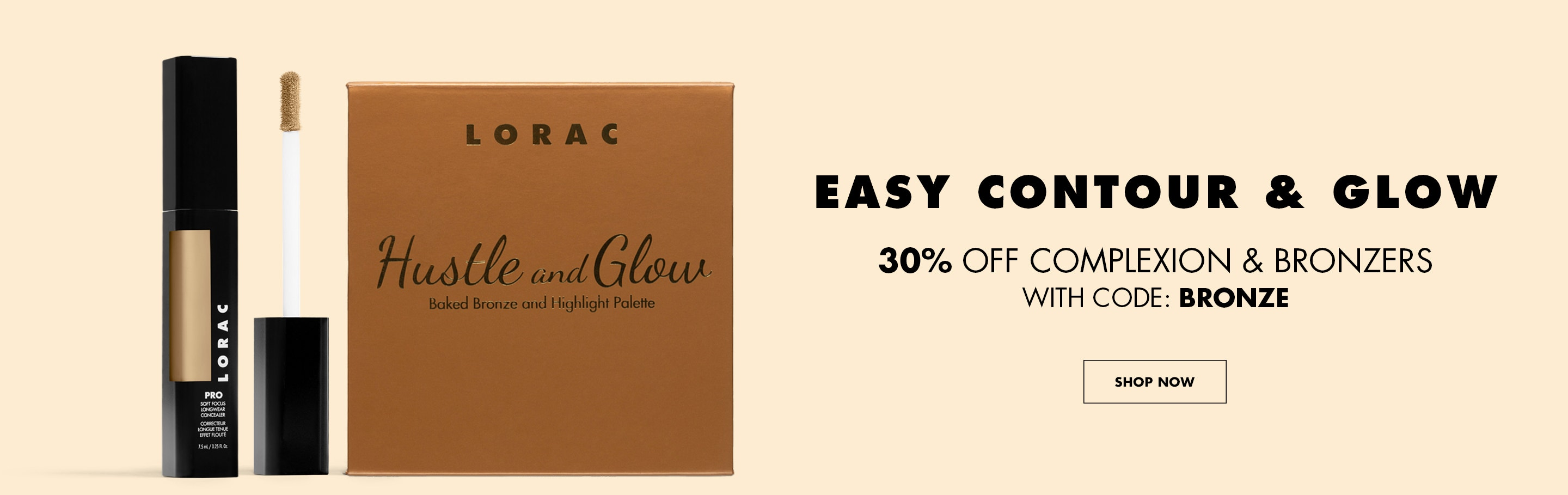 LORAC | 30% OFF Complexion and Bronzers with code: BRONZE |Two products front facing on beige background | SHOP NOW