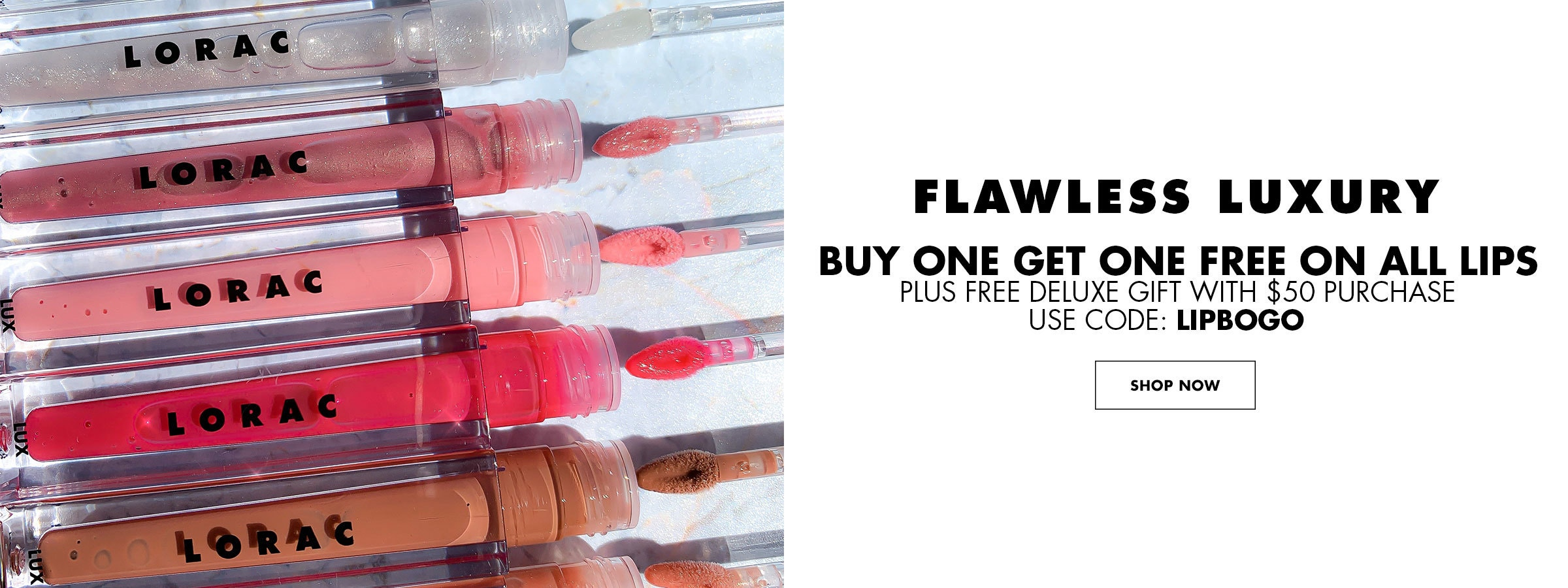 Flawless Luxury | Buy one get one free lips - Use Code: LIPBOGO + Free deluxe gift with $50 purchase | Shop Now | Lorac | Product angled cap removed, with blue background.