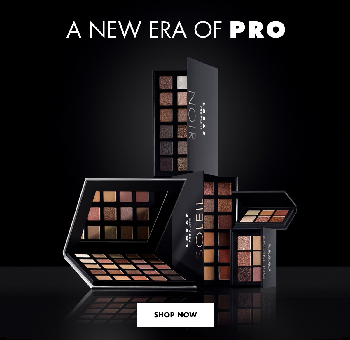 LORAC   A NEW ERA OF PRO   PALETTES LAYING IN DIFFERENT ANGELS SLIGHTLY OPEN ON A BLACK BACKGROUND   SHOP NOW