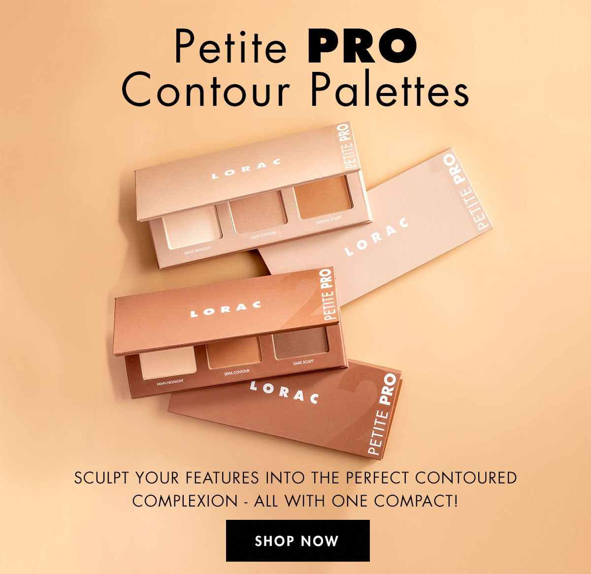 New Petite PRO Contour Palette   Shop Now   LORAC   Products angleded lids open, with sand in background